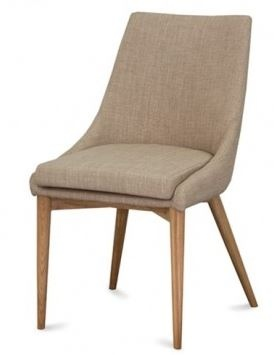 Eva Dining Chair Beige Fabric Ash Timber Leg