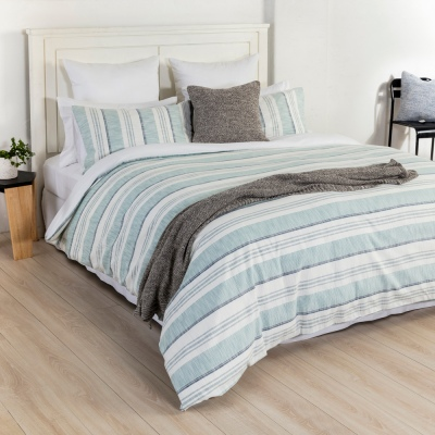 Eden Dylan Teal Stripe Single Duvet Cover Set