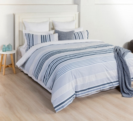 Eden Jaden Blue Stripe Single Duvet Cover Set