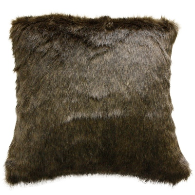 Elmwood Olive Mink Faux Fur Cushion 45X45Cm