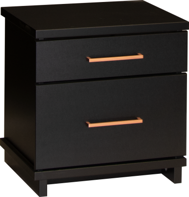 Fox 2 Draw Bedside Cabinet Black W/Copper Handles