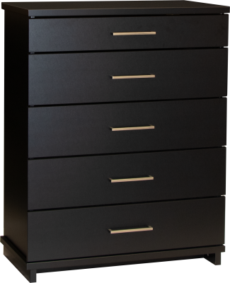 Fox 5 Draw Chest Black W/Nickel Handles