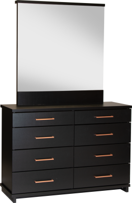 Fox 8 Draw Dresser Black W/Copper Handles