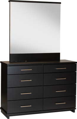 Fox 8 Draw Dresser Black W/Nickel Handles