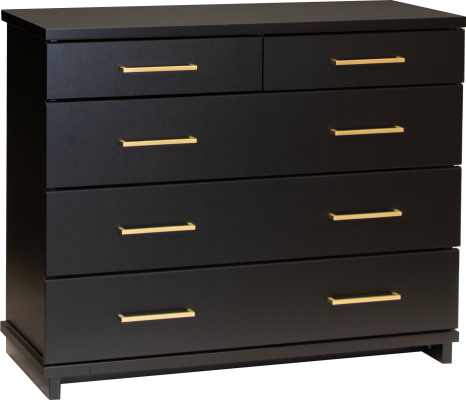 Fox 5 Draw Lowboy Black W/Gold Handles