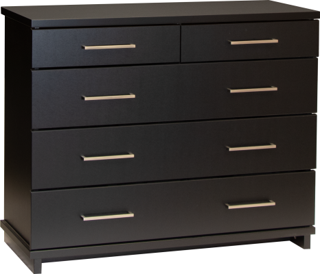 Fox 5 Draw Lowboy Black W/Nickel Handles