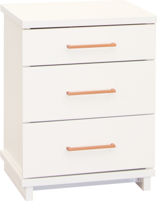 Franz 3 Draw Tall Bedside Cabinet White W/Copper