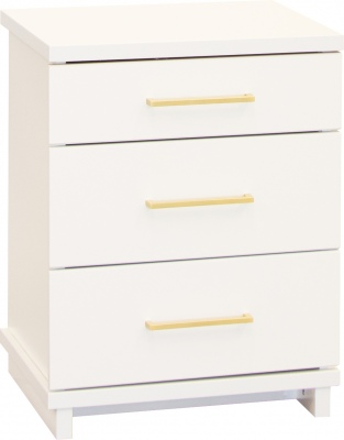 Franz 3 Draw Tall Bedside Cabinet White W/Gold Ha