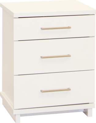 Franz 3 Draw Tall Bedside Cabinet White W/Nickel