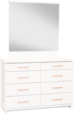 Franz 8 Draw Dresser White W/Copper Handles