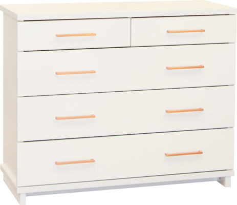 Franz 5 Draw Lowboy White W/Copper Handles