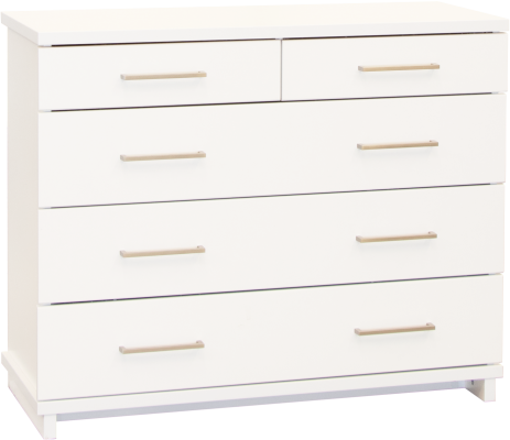 Franz 5 Draw Lowboy White W/Nickel Handles