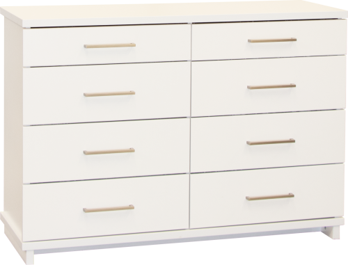 Franz 8 Draw Lowboy White W/Nickel Handles