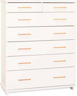 Franz 7 Draw Tallboy White W/Copper Handles