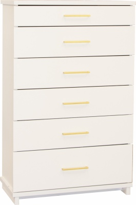 Franz 6 Draw Tallboy White W/Gold Handles