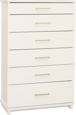 Franz 6 Draw Tallboy White W/Nickel Handles