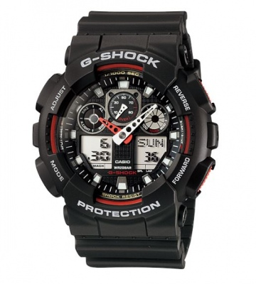 G Shock Black Red Analogue Watch