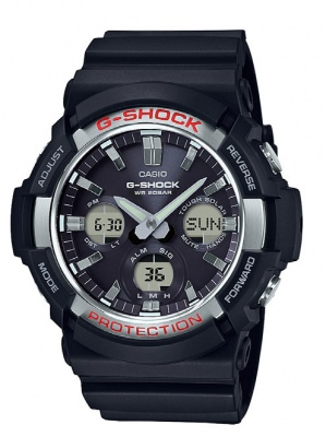 G Shock Black Silver Red Analogue Solar Watch