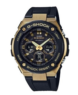 G Shock G-Steel Med Gold Black Analogue Watch Sola