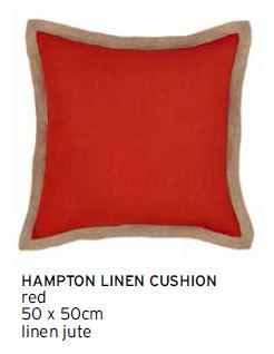 Hampton Red Linen Jute Edged Lrg Cushion 50X50Cm