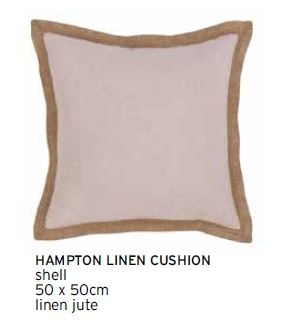 Hampton Shell Linen Jute Edged Lrg Cushion 50X50CM