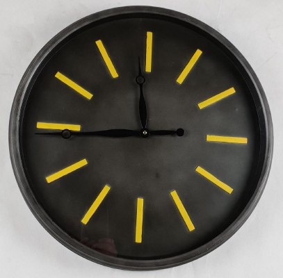 Metal Wall Clock Charcoal & Yellow 51Cm