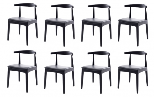 Elbow Black Oak & Blk Pu Dining Chair Set Of 8