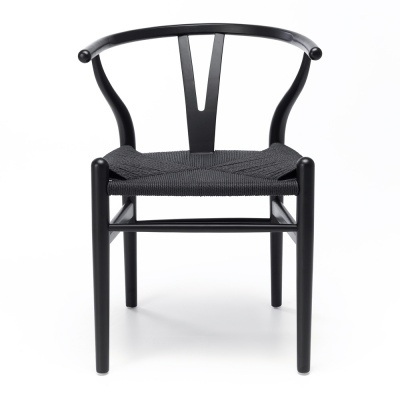 Wishbone Black Oak & Blk Rope Dining Chair