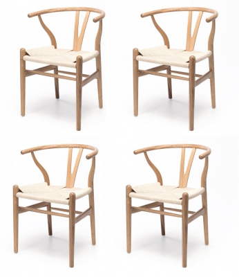 Wishbone Natural Oak & Rope Dining Chair Set Of 4