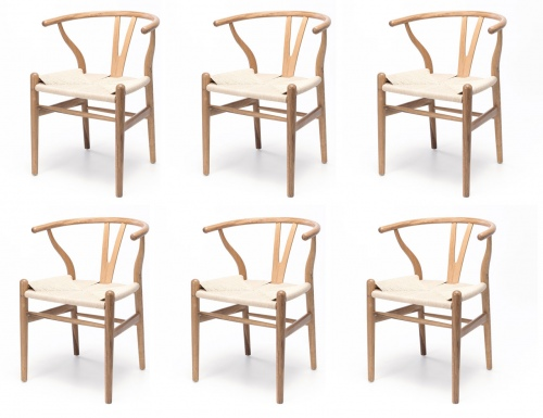 Wishbone Natural Oak & Rope Dining Chair Set Of 6