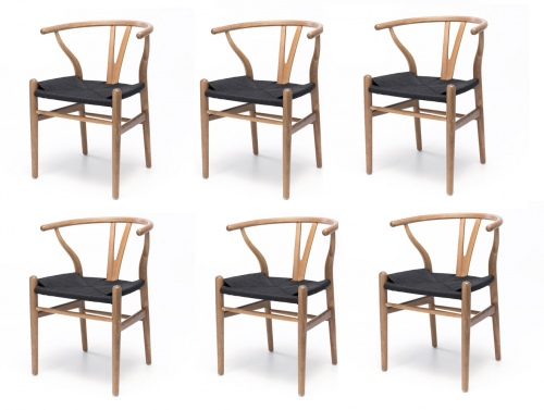 Wishbone Natural Oak & B Rope Dining Chair Setof6
