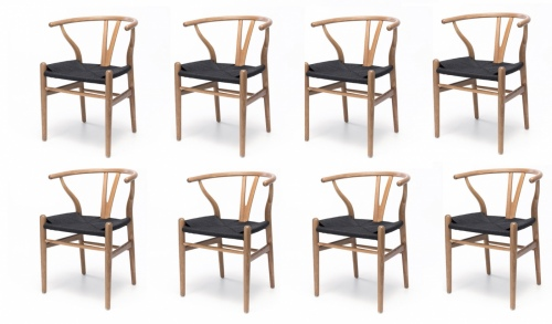 Wishbone Natural Oak & B Rope Dining Chair Setof8