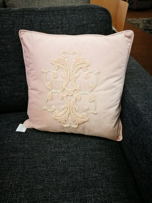 Bella Vista Pink Velvet Pearl Cushion 45X45Cm