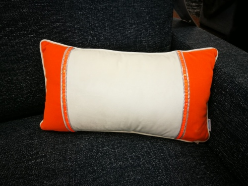 Bella Vista Ivory Orange Sparkle Cushion 28X50Cm