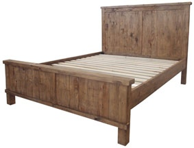 Industrial King Slat Bed Weathered Pine