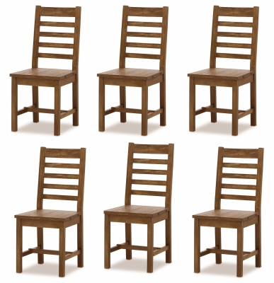 Industrial Dining Chair Set Of 6 Distressed Pine