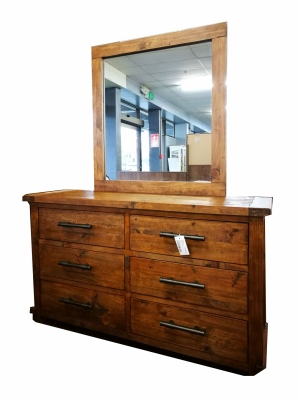 Industrial Dresser With Mirror Weathered Pine