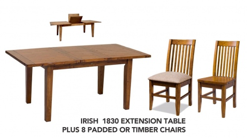 Irish Coast 1830 Ext Table + 8 Dining Chairs