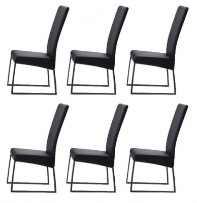Jana Black Glide Set Of 6 Dining Chairs