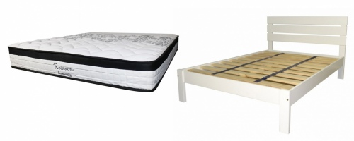 Kansas King Slat Bed White + Relaxon King Matt