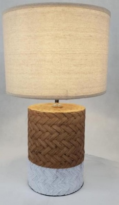 Wicker Texture Cement Base Lamp Natural 28X46Cm