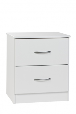 Mayson 2 Draw Bedside Cabinet White 480X545H