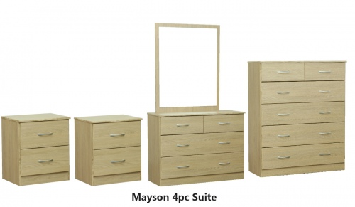 Mayson 4Pc Bedroom Suite Med Oak With Silver Handl