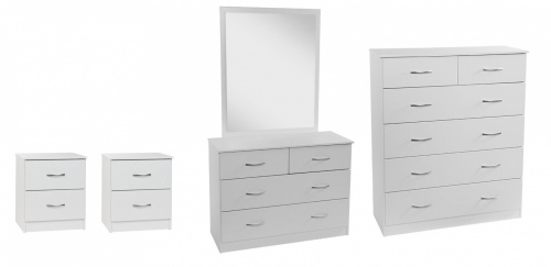 Mayson 4Pc Bedroom Suite White With Silver Handles