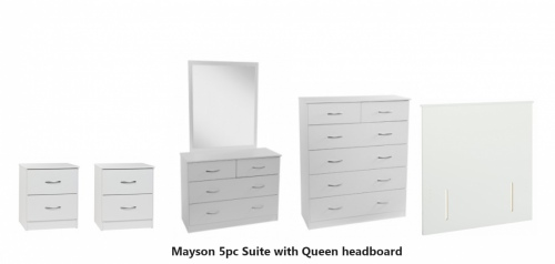 Mayson 5Pc Bedroom Suite White With Silver Handles