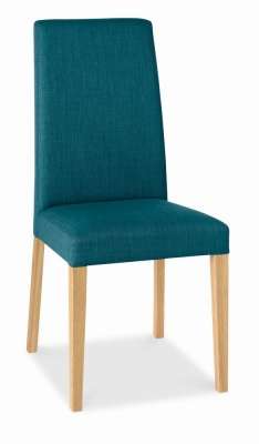 Miles Dining Chair Oak Legs Teal Fabric