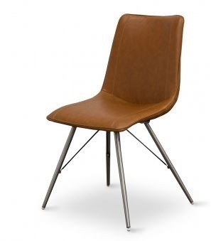 Moods Cognac PU Dining Chair Brushed Stainless Leg