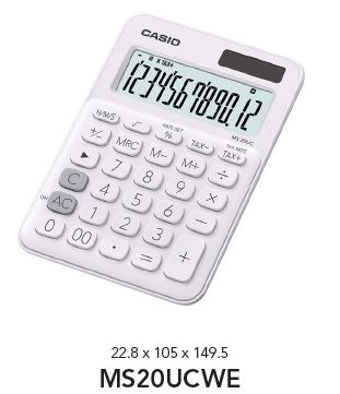 Casio Desktop Calculator Coloured Series White