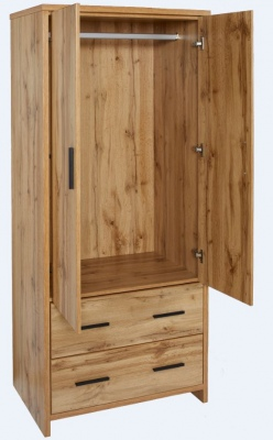 Nova 2Draw 2Door Wardrobe Natural Wood 800X523X180