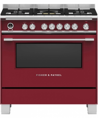 F&P Freestanding Red Dual Fuel Cooker 90Cm